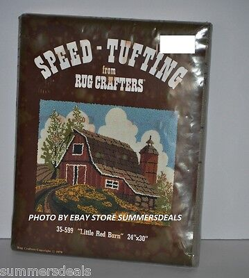 """VINTAGE RUG CRAFTERS SPEED TUFTING LITTLE RED BARN 24"""" x 30"""" SEALED"""