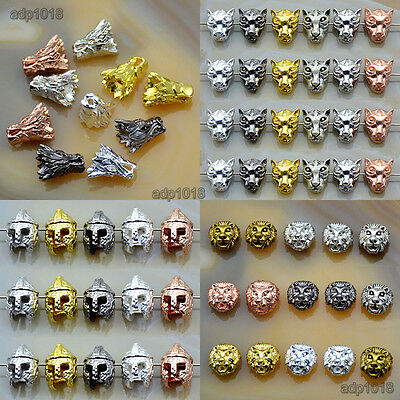 10pcs Solid lion,dragon, Bracelet Necklace Connector Charm Beads Silver Gold