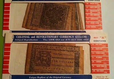 U.s. Colonial & Revolutionary Currency Antiqued Reproduction Full Set A & B