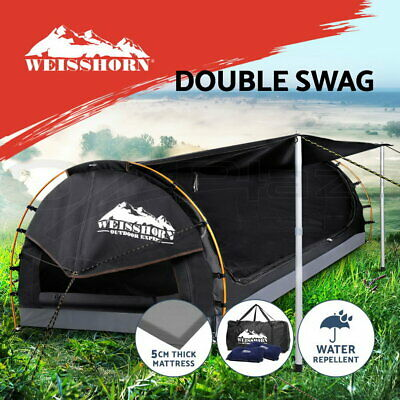 WEISSHORN Double Camping Swags Canvas Free Standing Dome Tent Bag Grey