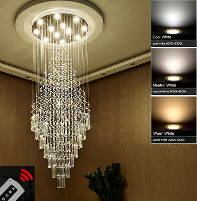 Modern Chandelier Crystal Light Ceiling Villa Living Stairs Lighting Fixture #02