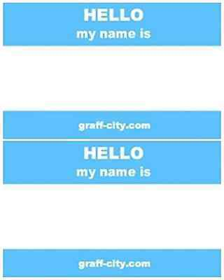 100 HELLO MY NAME IS STICKERS - BLUE/WHITE - 8 x 6cm