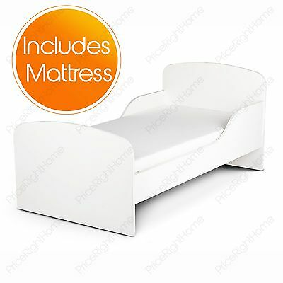 Plain White Mdf Toddler Bed + Mattress New Kids