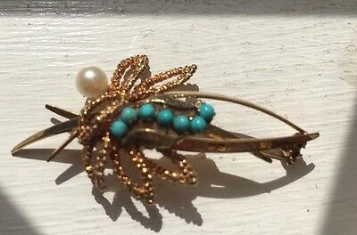 hallmark 9k antique victorian turquoise and pearl brooch-5.5g
