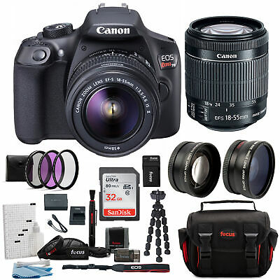 Canon T6 EOS Rebel DSLR Camera 18MP Wi-Fi 18-55mm Lens w/ Camera Accessories