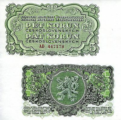 CZECHOSLOVAKIA 5 Korun Banknote World Paper Money Currency Europe Bill p80a Note
