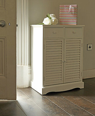 Tall White Slatted Door Shoe Cupboard With Drawers Cabinet Storage