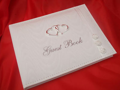 Wedding Bridal Guest Book White With Silver Heart Detail 77514