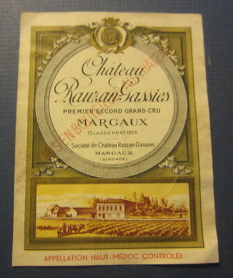 Old Chateau Rauzan Gassies - French WINE LABEL - MARGAUX - Haut-Medoc