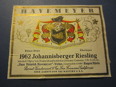 Old 1962 - Johannisberger RIESLING - GERMAN WINE LABEL - Havemeyer - Germany