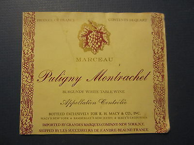 Old PULIGNY MONTRACHET - French WINE LABEL - Bottled for R.H. MACY & Co. N.Y.