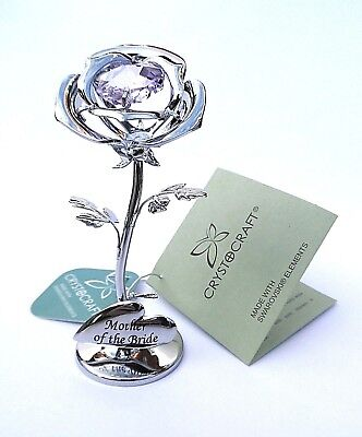 """""""Mother of the Bride"""" GIFT-8cms (3"""") SILVER STYLE PINK CRYSTAL ROSE in GIFT BOX"""