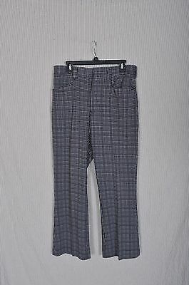 Vintage '70s Blue Houndstooth Polyester Golf Pants 33X29