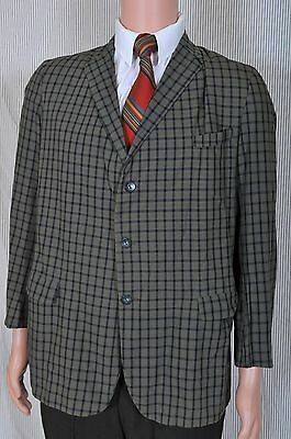 Vintage '50s/60s Campus Wash and Wear plaid narrow lapel sportscoat 37 short