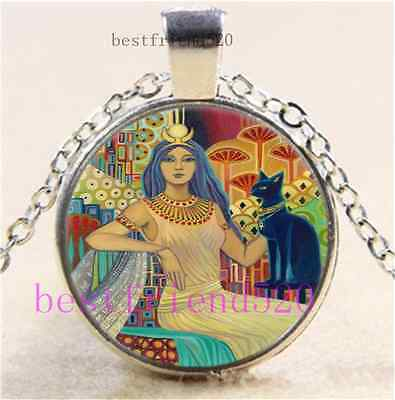 Egyptian Cat Goddess Cabochon Glass Tibet Silver Chain Pendant Necklace