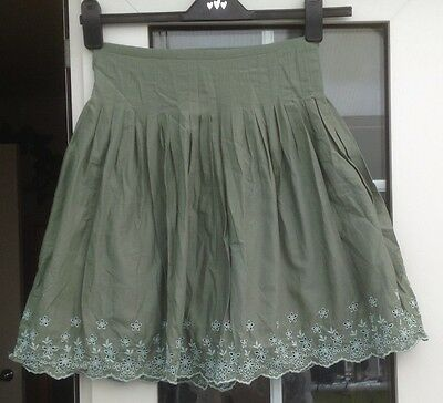 Gap Girls Sage Green With Floral Trim Lined Skirt - Aged 13 Yrs