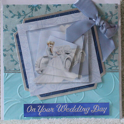 Handmade Beautiful 3D Happy Couple Standing By Their Open Top Car Wedding Card