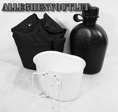 Rothco Black 3 Piece Canteen Kit With Cover & Aluminum Cup - Camping Survival