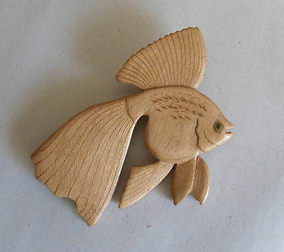 Vintage 30s Wooden Brooch. Tropical Fish. Biscuit-Coloured. Unusual Folk Piece