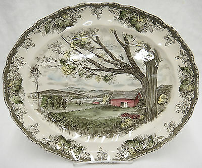 "Johnson Bros Friendly Village 13"" Oval Platter Harvest Time"