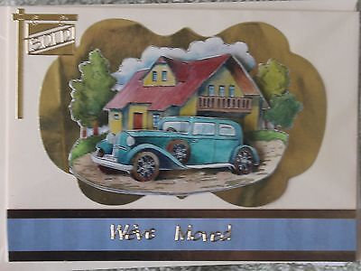 Handmade Beautiful 3D Vintage Car Outside A House Weve Moved Card