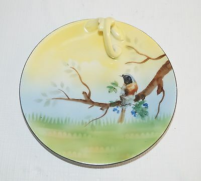 E.S. ES Prov Saxe Germany Porcelain China Candle Plate Handle Handpainted Bird