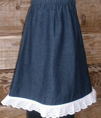 Girl long full skirt denim blue jean w/ lace modest size 2 3 4 5 6 7 8 10 12 14