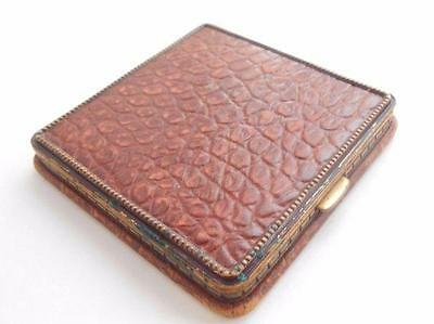 beautiful 1940s vintage brown ALLIGATOR LEATHER compact REX Fifth Avenue