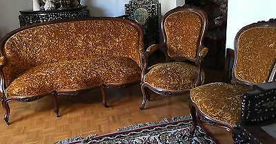 Antique French Furniture Set Camel Color Rosewood Sofa 4 Chairs