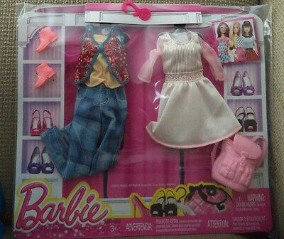 Barbie Fashion 2 Pack White Dress & Jeans Outfit Dmf57 New*