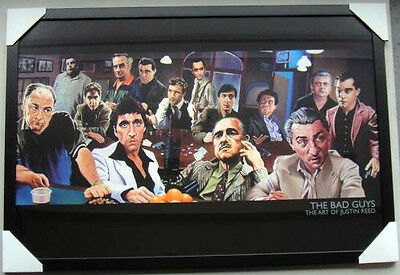 "The Bad guys framed poster ""Godfather, Scarface"" black timber Ready to hang"