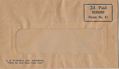 Stamp New Zealand 2d pre paid RICHMOND on A R Tuffnell Ltd cover tank suppliers
