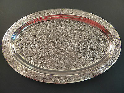 Ornate Engraved Egyptian Silver Drinks Tray