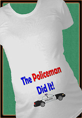 Red Blue The Policeman Did It Maternity Shirt Humor Pregnancy T-Shirt Future Cop