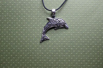 Pewter CELTIC Knotwork DOLPHIN Spirit Guide Totem Wicca Pagan Druid