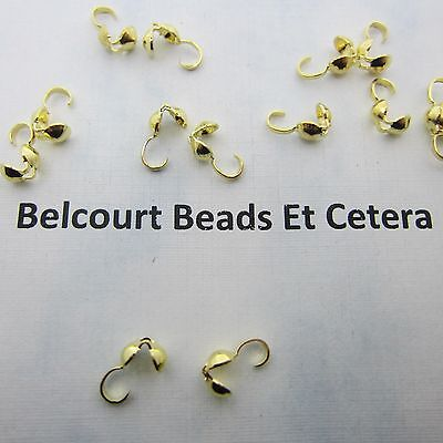 100 Gold Plated 4x9mm Brass Bead Tips Knot Cover Bottom Clamp
