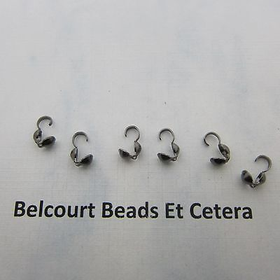 Black Plated Brass Bead Tips Knot Cover Bottom Clamp 4x9mm 60 Grams Approx 500p