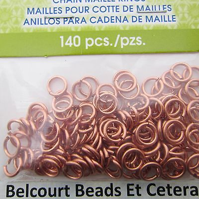 4.37mm Copper Wire Chain Maille Open Jump Rings Artistic Wire 18ga 140 pc.