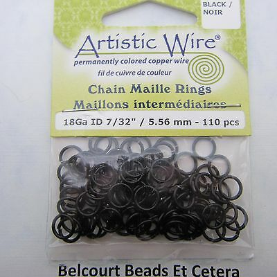 5.56 mm Black Plated Copper Wire 18ga 110 pc.  Chain Maille Rings Artistic Wire
