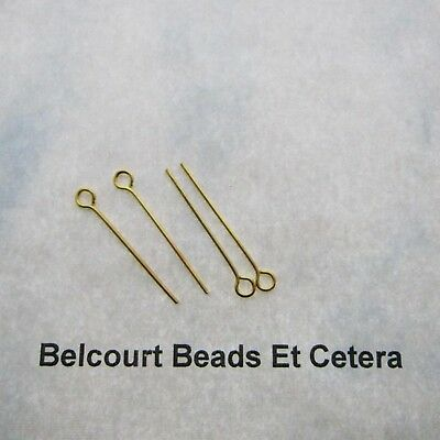 100 Open Eye Pins - Gold Plated 1 Inch - 22GA Easy to Use!