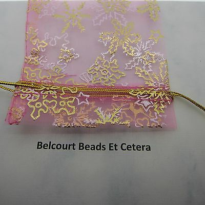 """10 Pink Snowflake Bows and Stars Organza Bags Gold Pattern and Tie 4x3"""""""