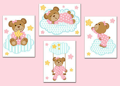 Girl Nursery Prints or Decal Pink Teddy Bear Wall Art Baby Shower Stickers Decor