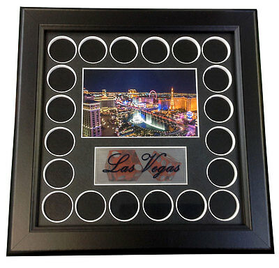 Las Vegas Night Strip Full Color 20 Chip Frame Collectible Casino Chips *