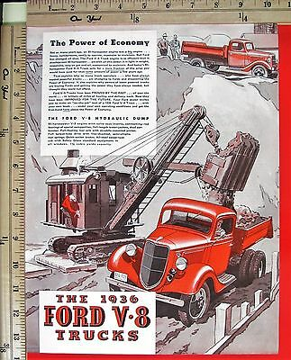 1936 FORD V-8 TRUCKS Dump Truck Heavy Haul with Steam Shovel Magazine Ad 6729