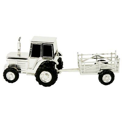 Silver Plated Tractor & Trailer Money Bank Box New Baby Christening Gift