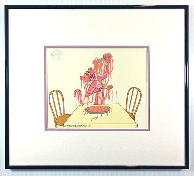 "Pink Panther Animation Art Cel ""Pink Spaghetti""  Friz Freleng Framed NEW"