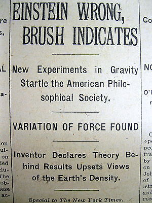 1921 newspaper Famous Scientist says EINSTEIN 's THEORY of RELATIVITY is WRONG