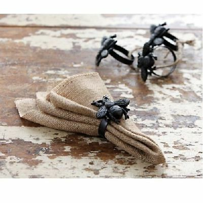 Black Cast Iron Bumble Bee Napkin Rings Holders Set 4 Farmhouse French Country