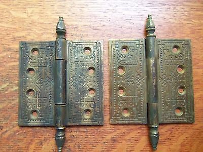 "Two Fancy Eastlake Victorian Antique Cast Brass Door Hinges 4.5"" c1885"