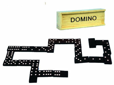 Set of 28 Black Wooden Dominoes In Wooden Box Brand New In Retail Pack